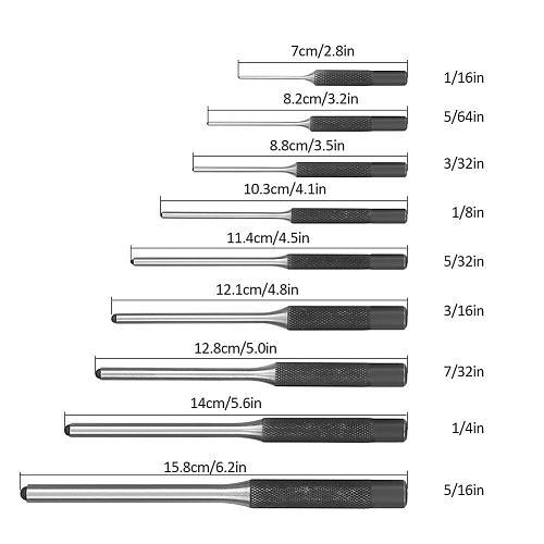9PCS/Set VAHIGCY DIY Punching Set Hardened Steel Long Pin Punch Set for home woodworking