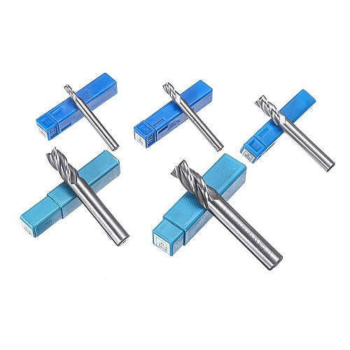5Pcs 4 Flute Straight End Shank End Mill Set HSS CNC Milling Cutter For Wood Metal Aluminum Cutting Tools 4/6/8/10/12mm