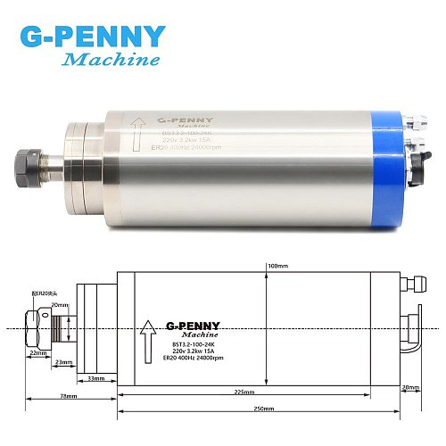 3kw spindle motor water cooling ER20 CNC Spindle Motor 4 Bearing 3.2kw water cooled & 4 kw VFD / inverter variable frequency