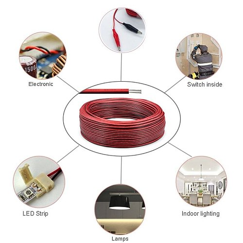10m 2 Pin Cable SM JST LED Connector Cable 0.3mm 2 Core Electrical Copper Wires 2pin Wire For 3528 LED Strip Lighting Driver