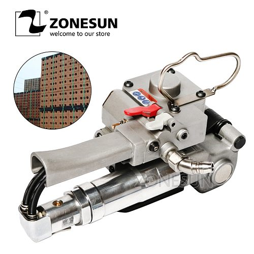 ZONESUN XQD-19/25 Portable Pneumatic PET Plastic PP Polypropylene Hand Strapping Machine in Paper Wooden Industrial Box Packing
