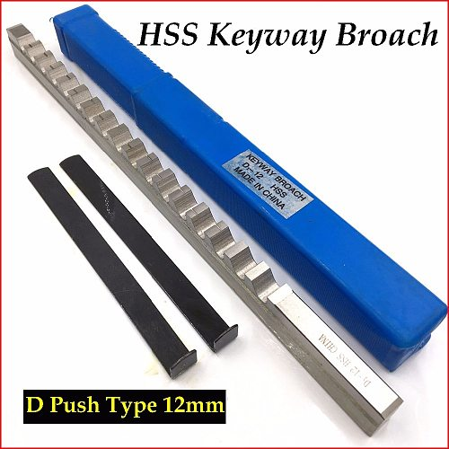 12mm D Push Type Keyway Broach Cutter & Shim HSS High Speed Steel CNC Cutting Tool with Shims New