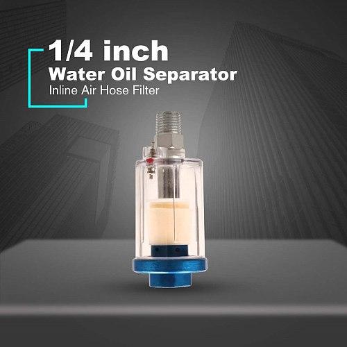 1/4  Water Oil Separator Inline Air Hose Filter Moisture Trap For Compressor Spray Paint Gun Pneumatic Tool Parts