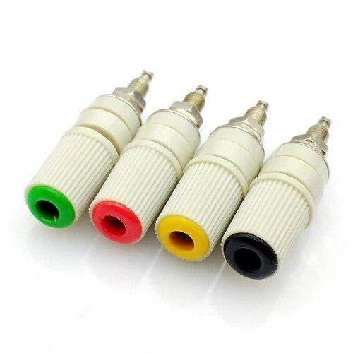4color 4mm banana socket Pure copper large current binding post M5 studs 30VAC-60VDC MAX 24A banana female connector 4pcs/lot