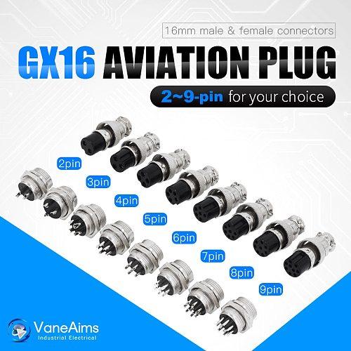 1set GX16 2/3/4/5/6/7/8/9 Pin Male & Female 16mm L70-78 Circular Aviation Socket Plug Wire Panel Connector