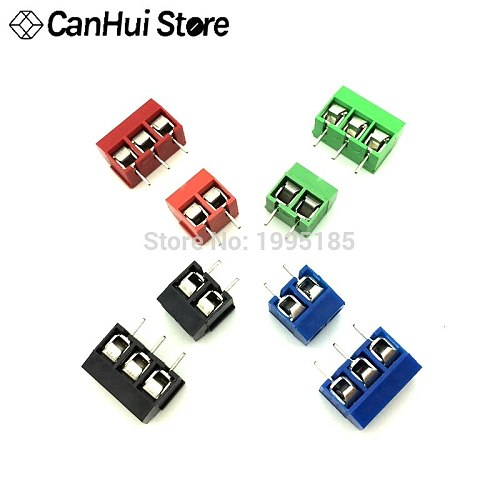 20 PCS KF301- 2P 3P screw 5.0mm terminal block 2 Pin 3 Pin pcb terminal block Connector Blue, green, red and black Selectable