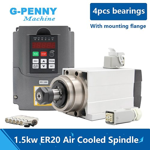 1.5kw ER20 air cooled spindle motor square type with flange air cooling 4 pcs bearings 0.01mm accuracy & HY 1.5kw inverter/VFD