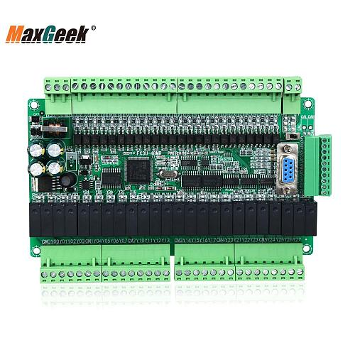 Maxgeek FX1N FX2N FX3U-48MR/48MR 24 Input 24 Relay Output 6 Analog Input 2 Analog Output PLC Controller