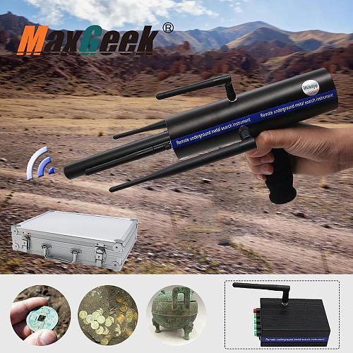 Maxgeek AKS Long Range Gold Metal Detector Gems Diamond Finder Black w/ Six Antennas Aluminum Carry Case