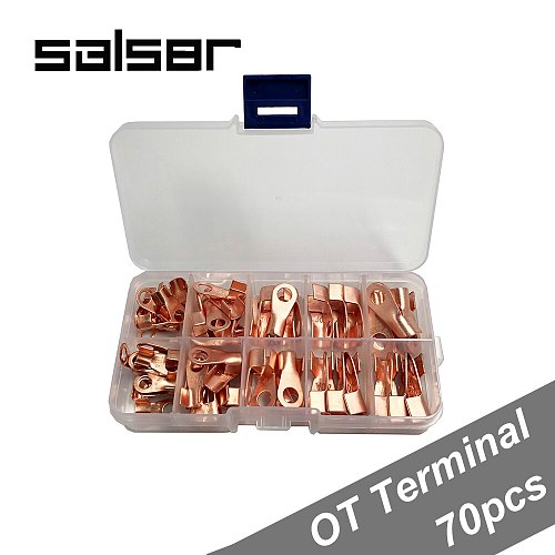 70PCS/BOX Red Copper Circular Splice Naked lugs Open Electrical Wire Cable Ring Terminal OT-10A 20A 30A 40A 50A