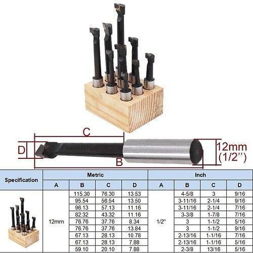1/2''  9pcs Hard Alloy Shank Boring Bar Boring Cutter Set Carbide Tipped Bars For 2 Inch 50mm Boring Head