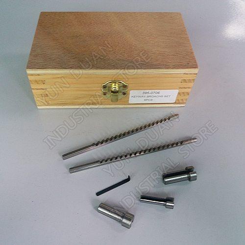 Keyway Broach kits 2mm 3mm Broach Push Type & 6 8 10 Collared Bush and Shim HSS Cutting Tool for CNC Broaching Metalworking 6pcs