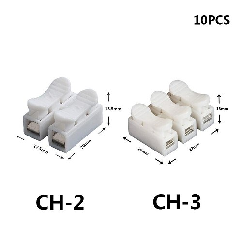 CH-2 CH-3 Spring Wire Quick Connector 10pcs/lot 2p 3p G7 Electrical Crimp Terminals Block Splice Cable Clamp Easy Fit Led Strip