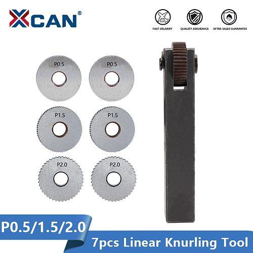 XCAN Single Wheel Straight Linear Knurling Tool Set 7pcs Pitch 0.5 1.5 2mm Lathe Knurling Tools