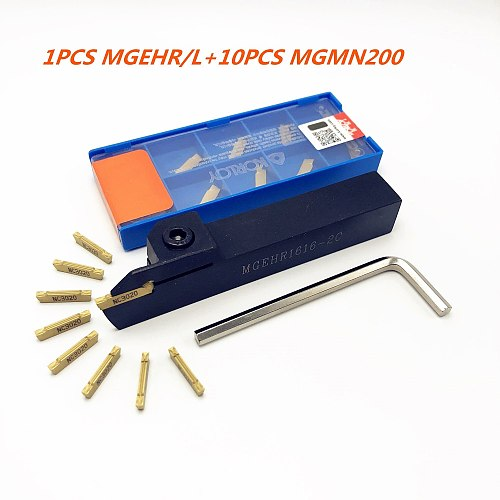 MGEHR2020-2 1010-2 1212-2 1616-2 2525-2 HSS tool holder lathe outer grooving tool holder +10PCS MGMN200 slotted turning tools