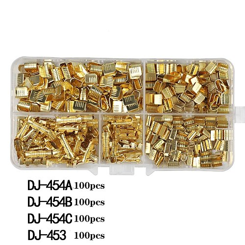 400Ppcs DJ454 0.5-6.0mm2 U-Shaped Copper Wire Crimps Terminal Cold Pressing Connectors Cable Lug For Wire Tab Terminal