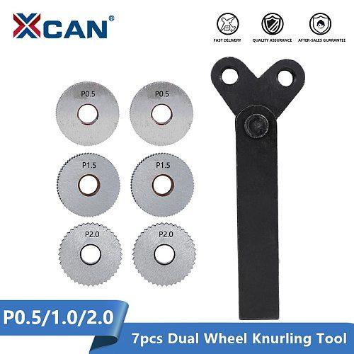 XCAN Dual Wheel Knurling Tool Kit 7pcs Pitch 0.5mm 1mm 2mm Lathe Cutter Wheel Knurling Tool Set