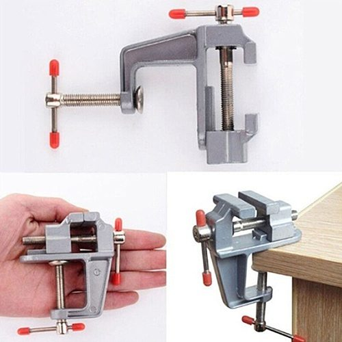 3.5  Aluminum Mini Bench Vise Miniature Engineer Vice Clamp Small Jewelers Hobby Clamp On Table Jaw Swivel Jewelry Tool Home DIY