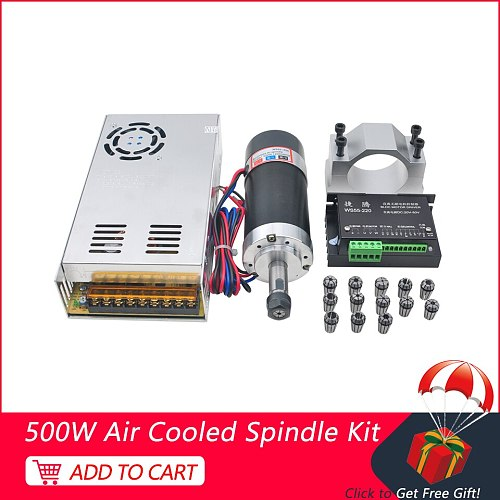 CNC Spindle 500W Brushless Spindle Motor Switching Power Supply Stepper Motor Driver 55MM Clamp Bracket ER11 Collet Chuck