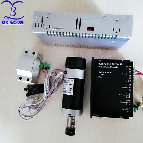 Brushless 500W CNC Router Spindle ER11 or ER16 Machine Motor + Clamp Bracket + brushless Motor Driver + Power Supply