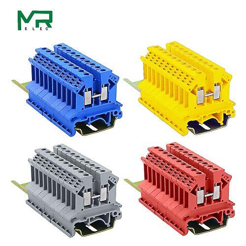 10pcs/lots UK-2.5B blue/grey/red/yellow  2.5mm2 DIN Rail Universal Combination Terminal Blocks Screw Type UK2.5B