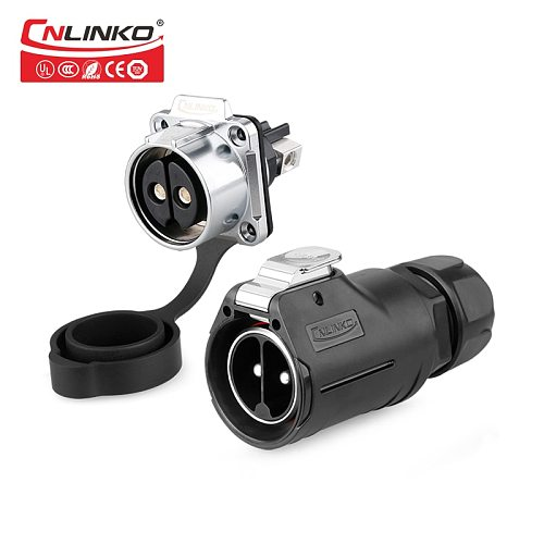 CNLINKO Newly launched 2pin M28 Waterproof industrial connector elecrocar charging Circular Male plug Female socket locking 50A