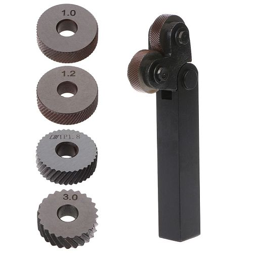 2pcs Diagonal Linear Knurl Wheels Knurling Knurler Tool 1.0/1.2/1.8/3.0mm Pitch -hol