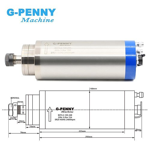 CNC Wood working 220v ER20 3.2kw Water-cooled spindle 3kw spindle motor water cooling engraving spindle for woodworking machine