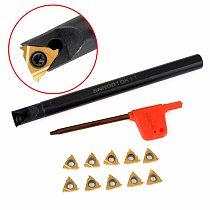 10pcs 11IR A60 Carbide Inserts Golden Blades + 1pc SNR0010K11 Lathe Boring Bar Turning Tool Holder