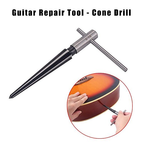 5-16mm Bridge Pin Hole Hand Held Reamer T Handle Tapered 6 Flute Chamfer Reaming Woodworker Cutting Tool Core Drill Bit