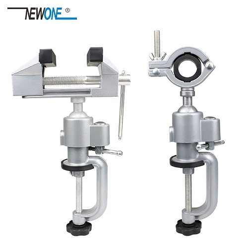 NEWONE Portable 360° Table Swivel Vise Woodworking Universal Mini Clamp-on Table Bench Vise Rotating Drill Stand Hobby Use DIY