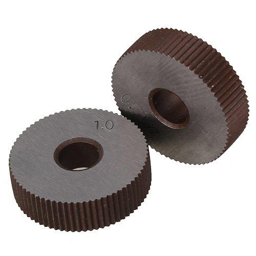2Pcs Strength Gear Hob Straight grain 1.0mm Wheel knurl HSS Wheel Knife Knurled Machine Tools Accessories Lathe Embossing Wheel
