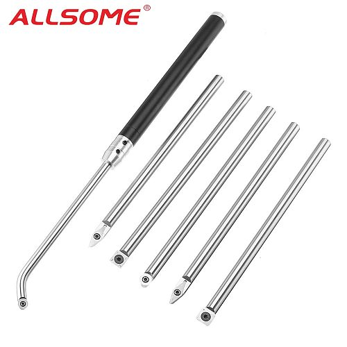 ALLSOME Wood Turning Tool with Wood Carbide Insert Cutter Round Shank Woodworking Tool Aluminum Alloy HT2400-2406