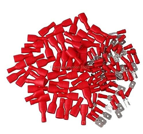 100pcs faston red 50pcs 6.3mm insert piece spring insulation wiring terminal FDFD-1-250 male and female plug 0.5-1.5 pair joint