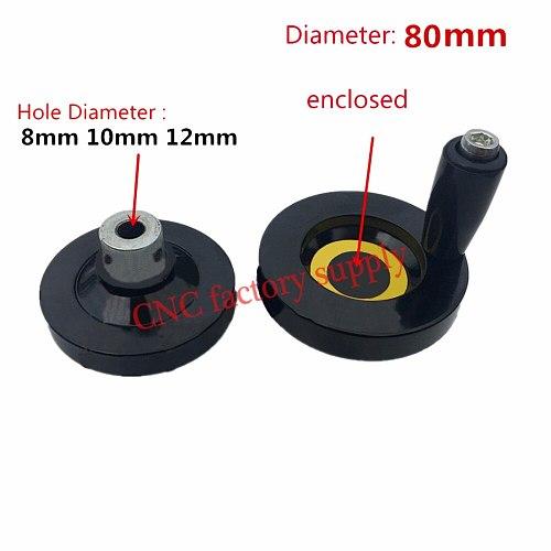 1pc CNC 3D Printer hole diameter 8mm 10mm 12mm hand wheel Diameter 80mm for T8 lead screw T12 T10 T8 Trapezoidal Lead Screw