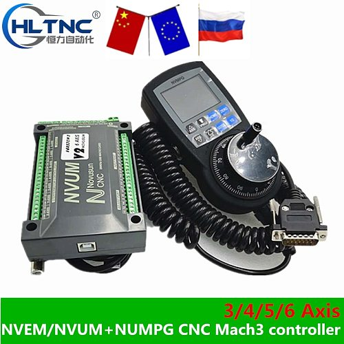 CNC Mach3 Set NVUM USB/NVEM  Breakout Board + NVMPG Mach3 Handwheel With LCD Display 6 Axis MPG For DIY CNC Router NEWCARVE