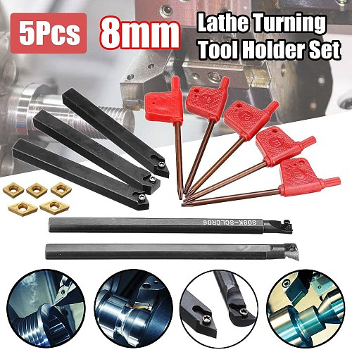 5pcs 8mm Shank Indexable Lathe Turning Tool Holder with CCMT060204 DCMT070204 Carbide Inserts for CNC Machine New Arrival