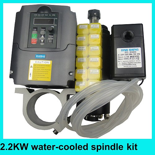 2.2KW spindle kit ER20 water cooling spindle motor +2.2KW spindle inverter+water pump+ER20 collets+water pump+80mm spindle clamp