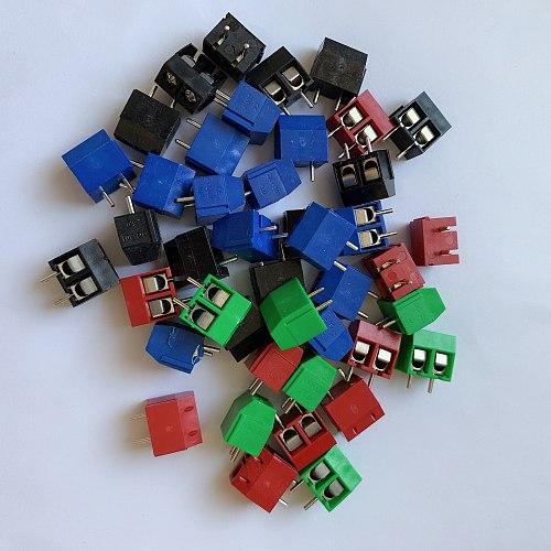50pcs / batch kf301-2p splicing, screw PCB spacing 5.0 connector terminal, terminal kf-301 green, black, red, blue