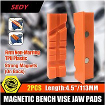 SEDY2PC 4.5 Magnetic Bench Vice Jaw Pad Multi-groove Vise Holder Grips Heavy For Milling Cutter For Drilling Machine Accessories