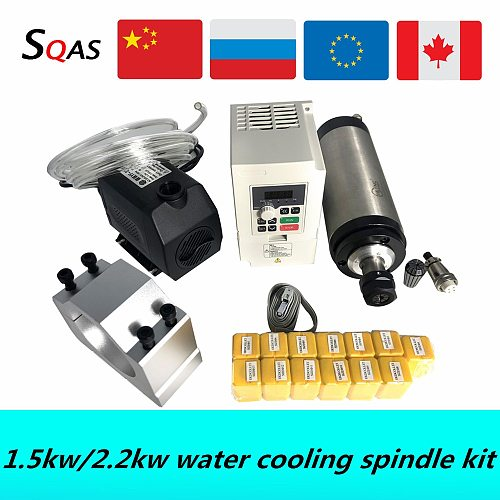 CNC spindle motor kit 1500W 2200W 24000RPM water cooling spindle & VFD & 80mm spindle bracket & water pump & water pipe & collet