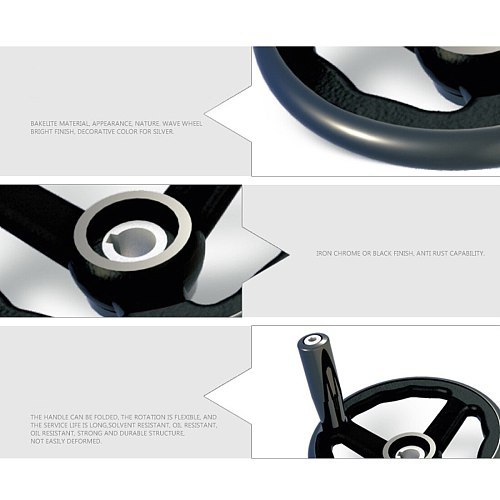 100/125/160/200/250mm Black Milling Machine Lathe CNC 3D Printer Spoked Hand Wheel Wavy Round bakelite three handwheel