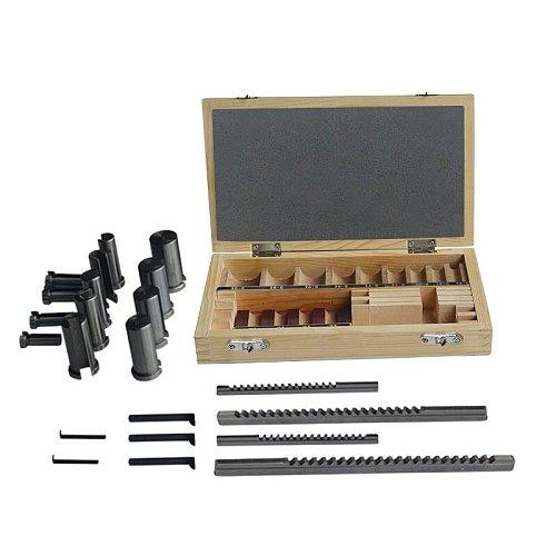 22pcs Keyway Broach Set Bushing Shim Set Metric System 12-30 HSS Keyway Tool knife for CNC Machine