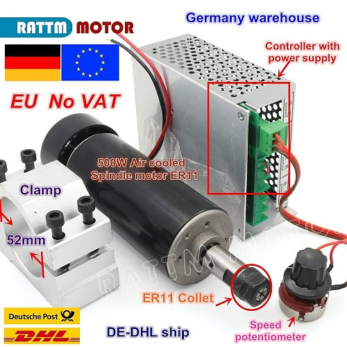 【EU ship】 Air cooled 0.5kw Air cooled spindle ER11 chuck CNC 500W Spindle Motor + Power Supply speed governor For DIY CNC ROUER
