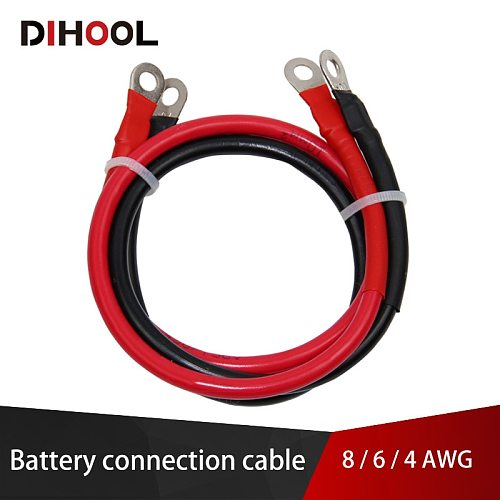 8/6/4 AWG Battery Connection Cable,High Current Copper Wire with Lug,Car Inverter Wire,UPS,Battery Series and Parallel Connect