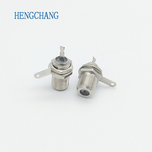10pcs/lot F type Female Socket Solder Connectors Chassis Panel Mount Patch Coaxial F connector