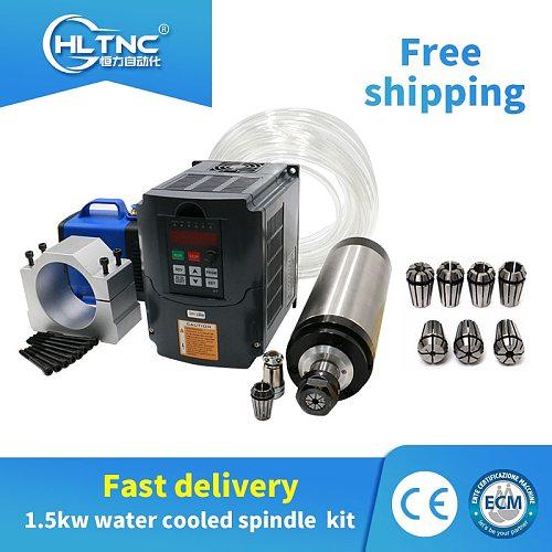 1500W 110v/220v/380V water cooled cnc spindle motor+ HY VFD/ inverter+water pump+80mm bracket+1SET ER11  for CNC milling machine