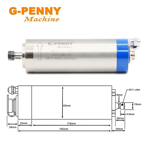 G-penny 800W ER11 Water Cooled Spindle Motor Water Cooling & 1.5KW VFD Inverter Variable Frequency CNC Spindle Speed Control