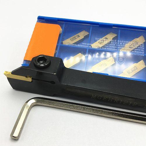MGEHR1010 MGEHR1212 MGEHR1616 MGEHR2020 MGEHR2525 outer grooving tool holder carbide blade, 10PCS blade turning tool