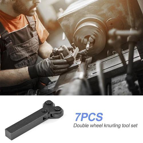 7pcs Dual Wheel Knurling Tool Kit 7pcs 0.5mm 1mm 2mm Wheel Linear Pitch Knurl Set Steel Lathe Cutter Wheel Knurling Tool Set